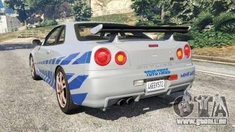 GTA 5 Nissan Skyline R34 GT-R 2002 Fast and Furious arrière vue latérale gauche