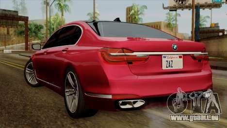 BMW 7 2015 pour GTA San Andreas laissé vue