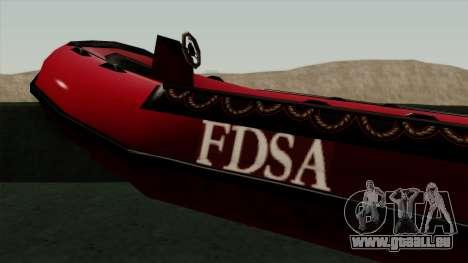 FDSA Dinghy pour GTA San Andreas sur la vue arrière gauche