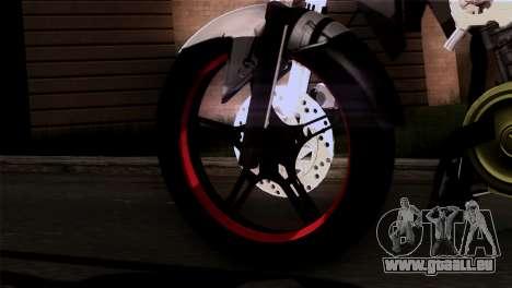 Yamaha Vixion Advance Lominous White für GTA San Andreas zurück linke Ansicht