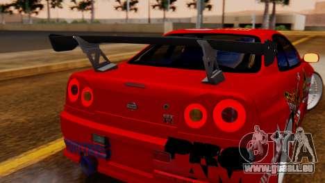 Nissan Skyline R34 Drift Monkey für GTA San Andreas Rückansicht