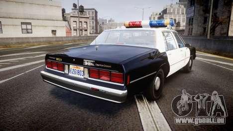 Chevrolet Caprice 1989 LAPD [ELS] pour GTA 4 Vue arrière de la gauche