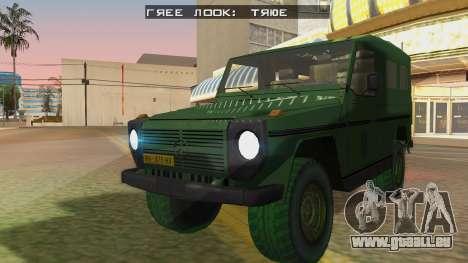 Mercedes-Benz G Wolf Croatian Army für GTA San Andreas zurück linke Ansicht
