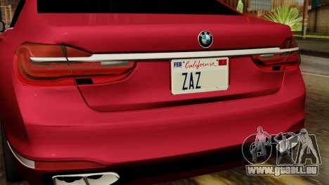 BMW 7 2015 pour GTA San Andreas vue arrière