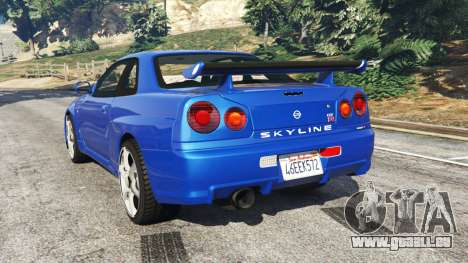 GTA 5 Nissan Skyline R34 GT-R v0.1 hinten links Seitenansicht