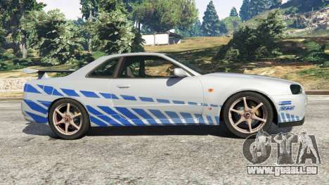 GTA 5 Nissan Skyline R34 GT-R 2002 Fast and Furious linke Seitenansicht
