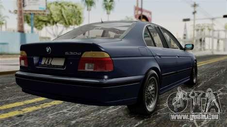 BMW 530D E39 1999 Stock pour GTA San Andreas laissé vue
