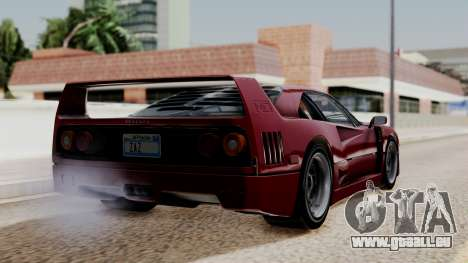 Ferrari F40 1987 without Up Lights IVF pour GTA San Andreas laissé vue