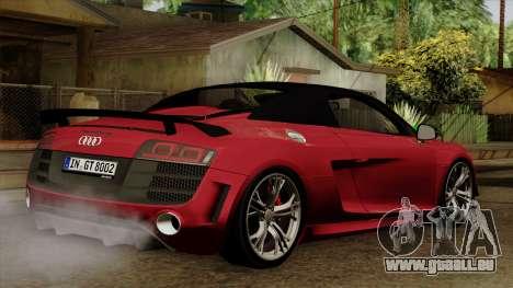 Audi R8 GT Spyder 2012 pour GTA San Andreas laissé vue