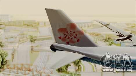 Boeing 747-200 China Airlines Dreamliner pour GTA San Andreas sur la vue arrière gauche