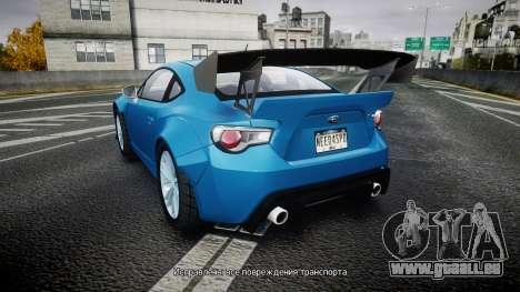 Subaru BRZ Rocket Bunny pour GTA 4 Vue arrière de la gauche