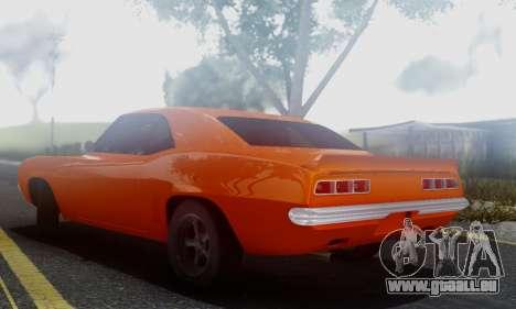 Chevy Camaro 69 für GTA San Andreas zurück linke Ansicht