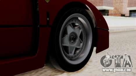 Ferrari F40 1987 without Up Lights IVF pour GTA San Andreas sur la vue arrière gauche