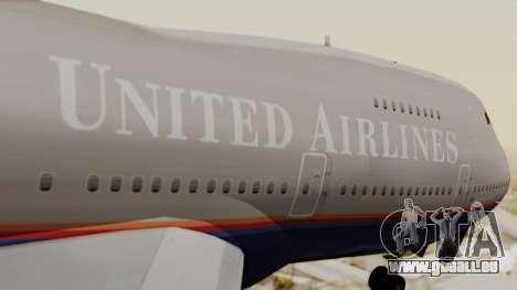 Boeing 747 United Airlines für GTA San Andreas Rückansicht