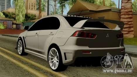 Mitsubishi Lancer Evolution X FQ400 Pro pour GTA San Andreas laissé vue