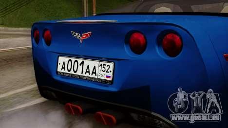 Chevrolet Corvette C6 pour GTA San Andreas vue arrière
