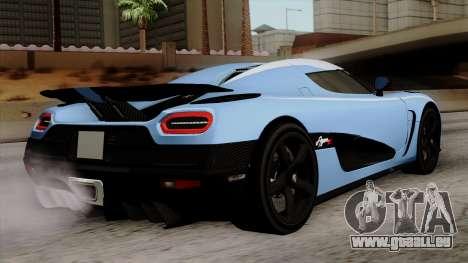 Koenigsegg Agera R 2014 Carbon Wheels pour GTA San Andreas laissé vue