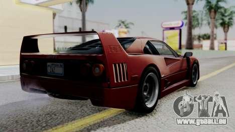 Ferrari F40 1987 with Up Lights IVF für GTA San Andreas linke Ansicht