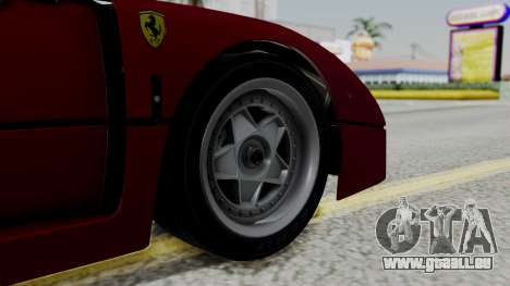 Ferrari F40 1987 with Up Lights IVF für GTA San Andreas zurück linke Ansicht