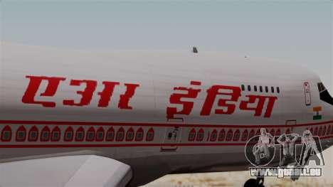 Boeing 747-200 Air India VT-ECG für GTA San Andreas Rückansicht