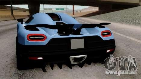 Koenigsegg Agera R 2014 Carbon Wheels pour GTA San Andreas moteur