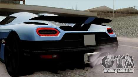 Koenigsegg Agera R 2014 Carbon Wheels pour GTA San Andreas vue arrière