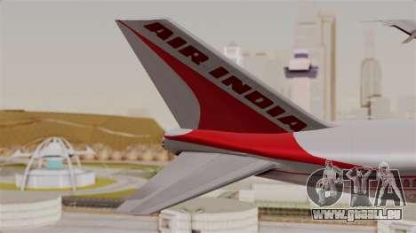 Boeing 747-200 Air India VT-ECG für GTA San Andreas zurück linke Ansicht