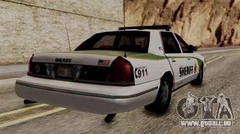 Ford Crown Victoria LP v2 Sheriff New pour GTA San Andreas laissé vue