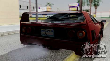 Ferrari F40 1987 with Up Lights IVF für GTA San Andreas Rückansicht