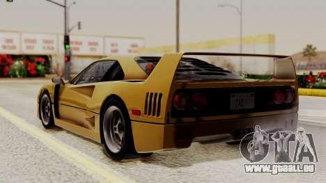 Ferrari F40 1987 HQLM pour GTA San Andreas laissé vue