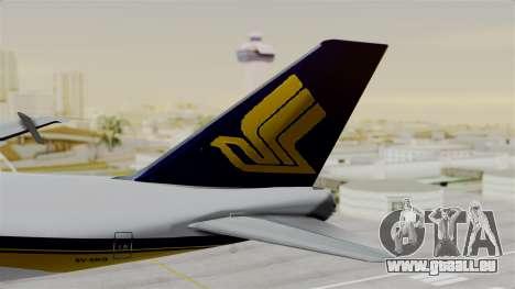 Boeing 747 Singapore Cargo pour GTA San Andreas sur la vue arrière gauche