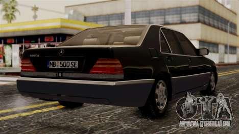 Mercedes-Benz W140 500SE 1992 pour GTA San Andreas laissé vue