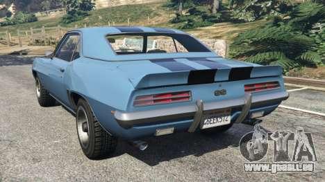 GTA 5 Chevrolet Camaro SS 350 1969 arrière vue latérale gauche