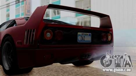 Ferrari F40 1987 without Up Lights IVF pour GTA San Andreas vue intérieure