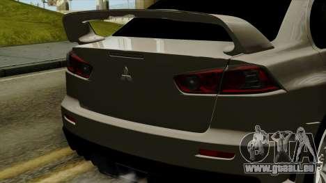 Mitsubishi Lancer Evolution X FQ400 Pro pour GTA San Andreas vue arrière