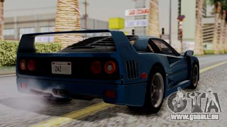 Ferrari F40 1987 with Up without Bonnet HQLM pour GTA San Andreas laissé vue
