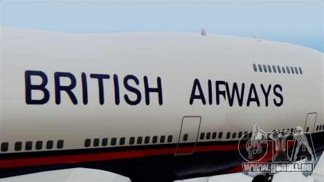 Boeing 747 British Airlines (Landor) pour GTA San Andreas vue arrière