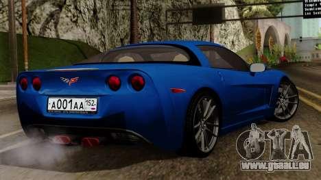 Chevrolet Corvette C6 pour GTA San Andreas laissé vue