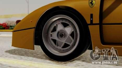 Ferrari F40 1987 HQLM pour GTA San Andreas sur la vue arrière gauche