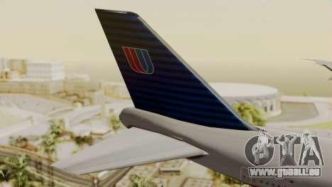 Boeing 747 United Airlines für GTA San Andreas zurück linke Ansicht