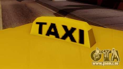Elegant Taxi pour GTA San Andreas sur la vue arrière gauche