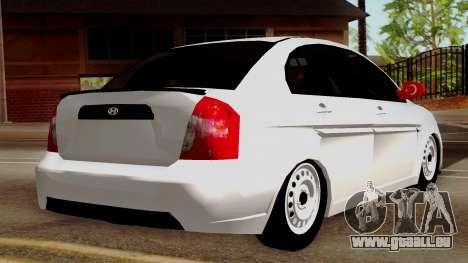 Hyundai Accent pour GTA San Andreas laissé vue