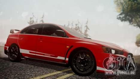 Mitsubishi Lancer Evolution X 2015 Final Edition pour GTA San Andreas moteur