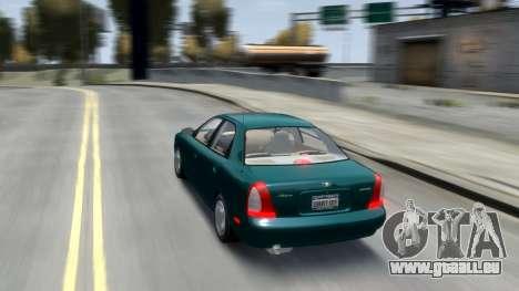 Daewoo Nubira I Sedan SX USA 1999 für GTA 4 Unteransicht
