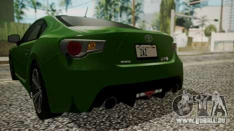 Toyota GT86 2012 für GTA San Andreas Unteransicht