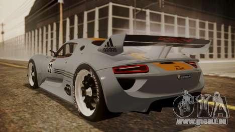 Porsche 918 RSR für GTA San Andreas linke Ansicht
