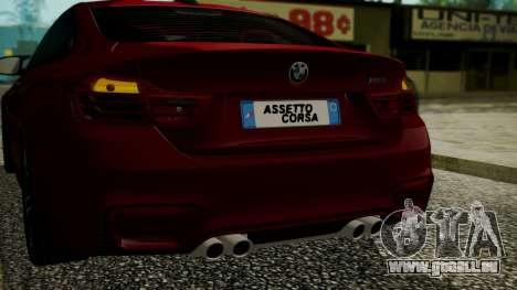 BMW M4 Coupe 2015 Walnut Wood für GTA San Andreas Unteransicht
