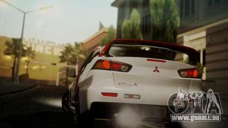 Mitsubishi Lancer Evolution X 2015 Final Edition pour GTA San Andreas laissé vue