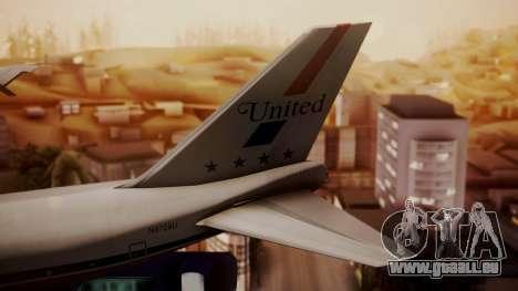 Boeing 747-100 United Airlines Friend Ship für GTA San Andreas zurück linke Ansicht