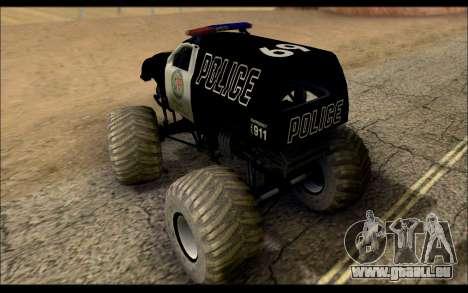The Police Monster Trucks pour GTA San Andreas sur la vue arrière gauche